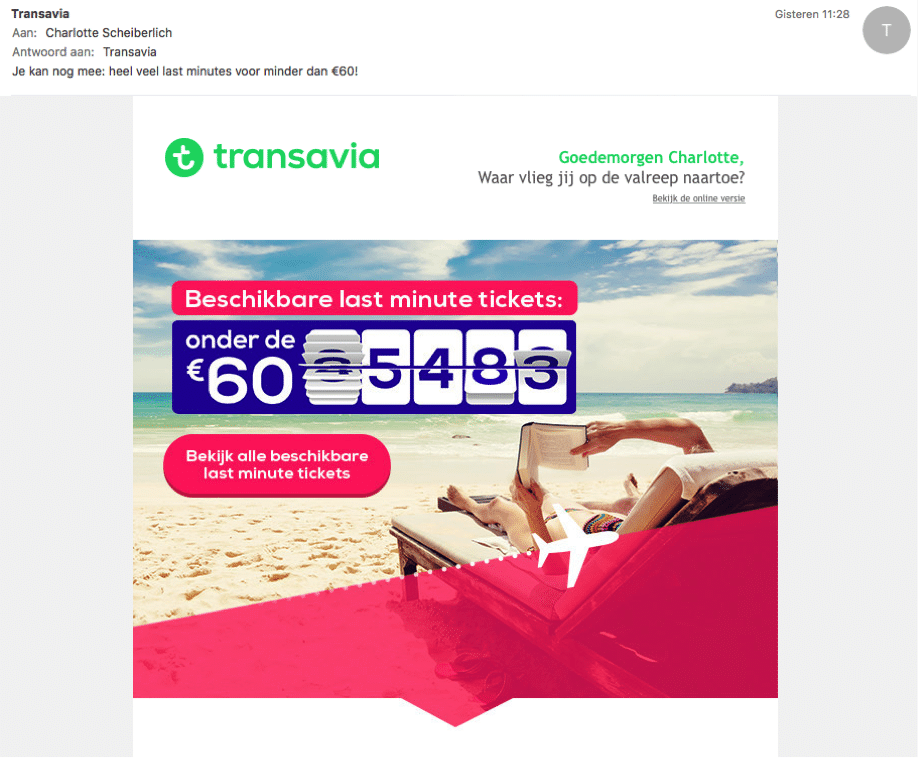 Voorbeeld Transavia