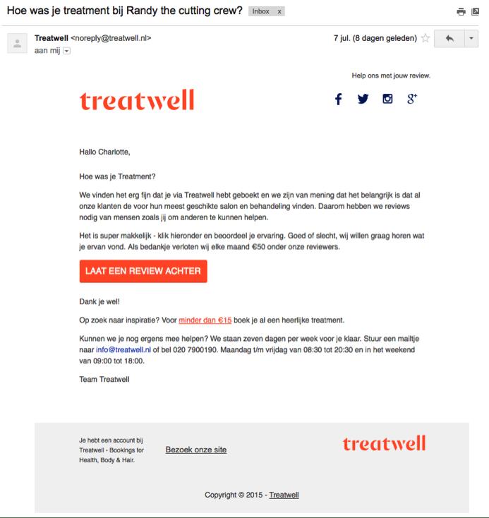 Voorbeeld Treatwell