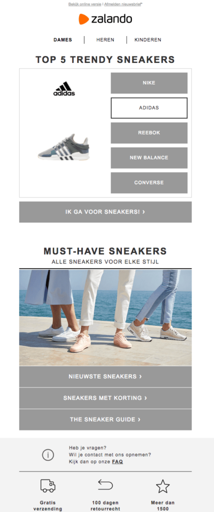 Zalando sneakers call-to-action button